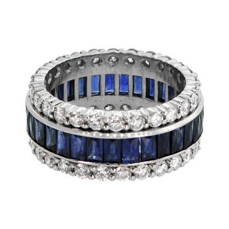 sapphire  diamond wedding band estate diamond jewelry