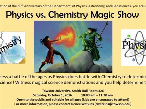 oct 1 physics vs chemistry magic show towson md patch