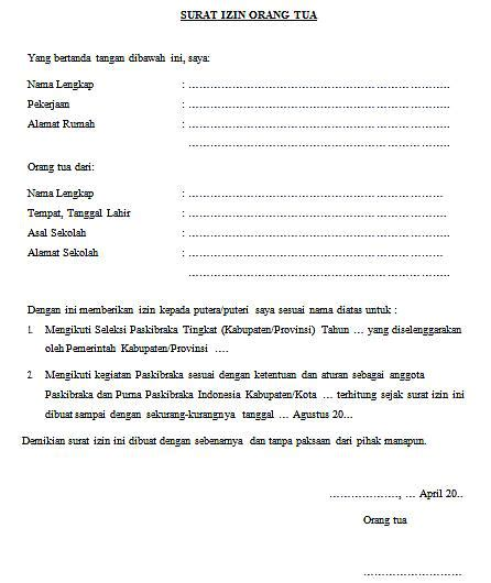 surat izin ikut seleksi paskibraka guru loyal