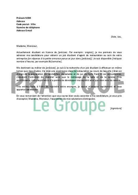 lettre de motivation chef de cuisine collective