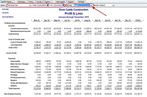 Trailing 12 Month Chart Excel Template by How To Create A Monthly Profit Loss Report In Quickbooks