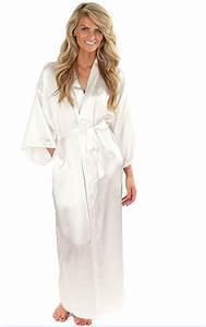 women silk satin long wedding bride bridesmaid robe kimono With femme en robe