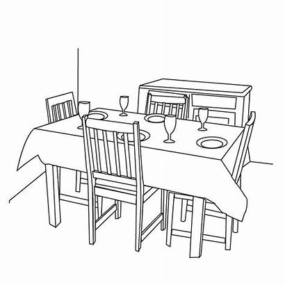 Dining Coloring Pages Drawing Sheets Rooms Dinning