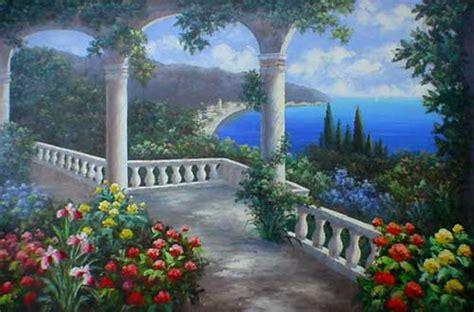 italian mediterranean  garden style oil paintings