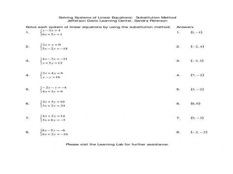 solving systems by substitution worksheet