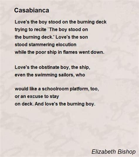 The Boy Stood On The Burning Deck by Casabianca Poem By Elizabeth Bishop Poem