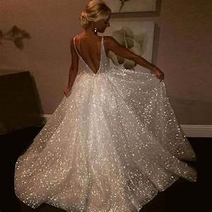 ball gown v neck sleeveless backless sweep train wedding With glitter wedding dress