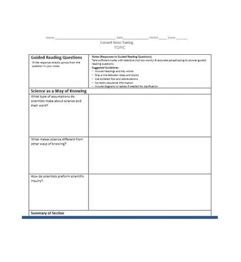 Note Taking Template 36 Cornell Notes Templates Exles Word Pdf