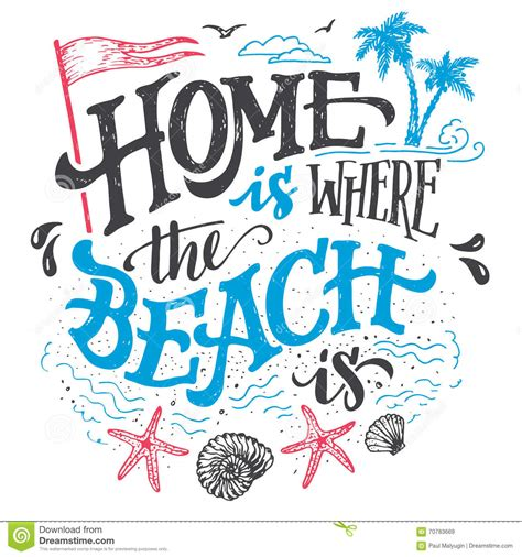 home is where the beach is typography illustration stock vector image 70783669