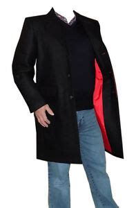 mens crombie black  wool fitted  coat red lining