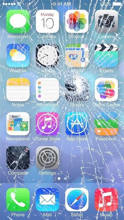 Iphone Screen Broken Cracked Prank Apple Wallpapers