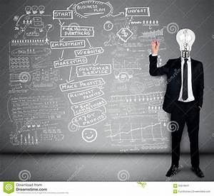 Bulb Head Man Writing Business Plan Stock Image