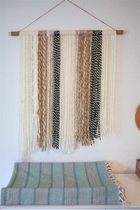 tapestry with lights behind boho yarn wall art tutorial on lmm diy furniture and