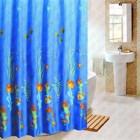 blue fish modern shower curtain waterproof fabric curtain