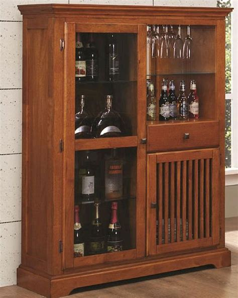 coaster mission style bar cabinet marbrisa  brown