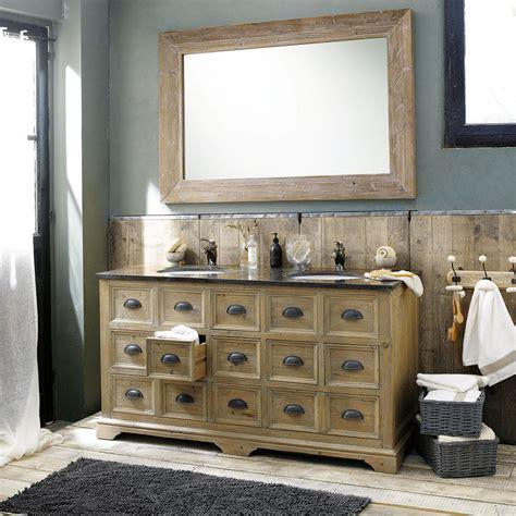 meuble cuisine bois recyclé grand miroir en bois naturel miroir décoration