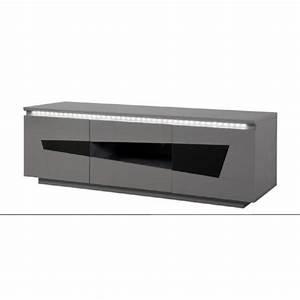 Meuble Gris Laqué : origami meuble tv 150 cm laqu gris et noir achat vente meuble tv origami meuble tv ~ Nature-et-papiers.com Idées de Décoration