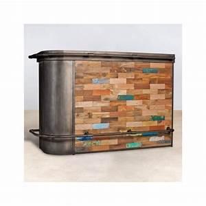 Bar En Bois : meuble bar bois recycl angle droit 164x60 caravelle ~ Teatrodelosmanantiales.com Idées de Décoration