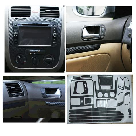 black carbon fiber sticker set door handle dash trim air vent fit vw jetta mk5 ebay