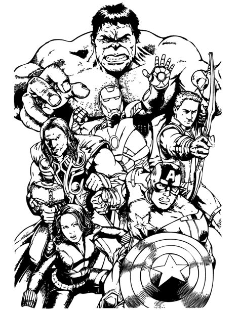 awesome avengers team coloring page   coloring pages