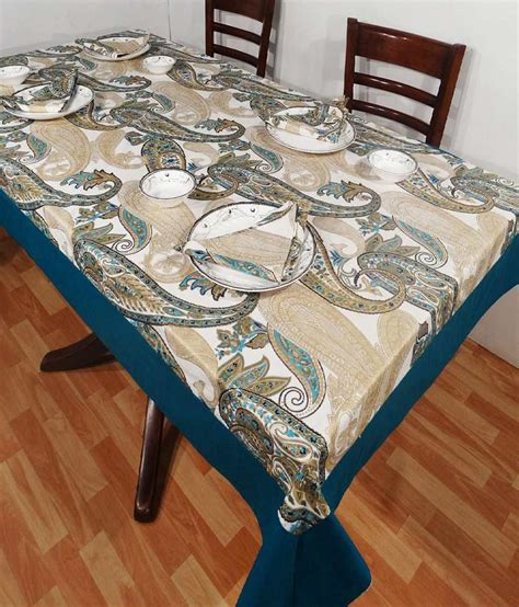 blue table l heritagefabs harmony blue table cover with 6 napkins buy