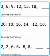 The Pattern In Numbers Sequences Beginner Level Patterns Worksheets Math Readiness Worksheet Kindergarten Worksheets Dynamically Created Kindergarten Worksheets Standards Met Sequential Patterns Of Products