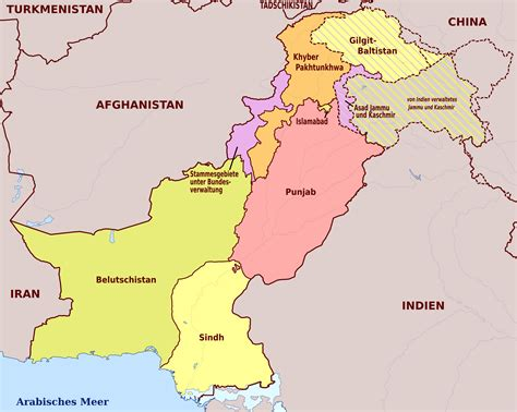 large administrative map  pakistan pakistan asia
