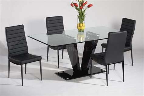 glass top black gloss base dining table w optional chairs