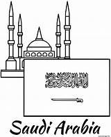 Mosque Drapeau Saoudite Coloriage Arabie Saudi Arabia Dessin Flag Coloring Topcoloringpages sketch template