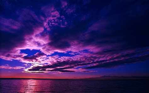 nature landscape water clouds sea sunset horizon
