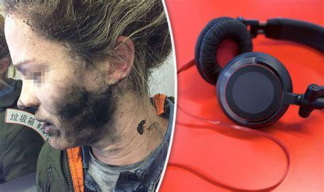 plane horror  exploding headphones burn womans face mid