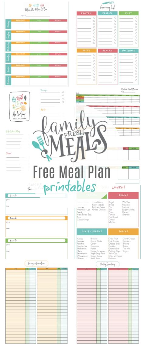 email newsletter   meal plan printables family
