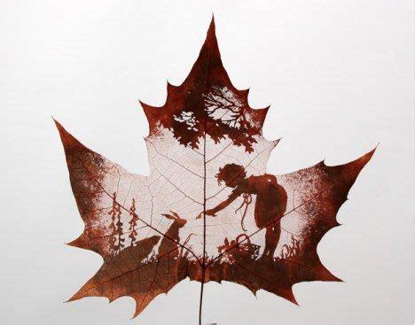 incredible art  carved leaves treehugger