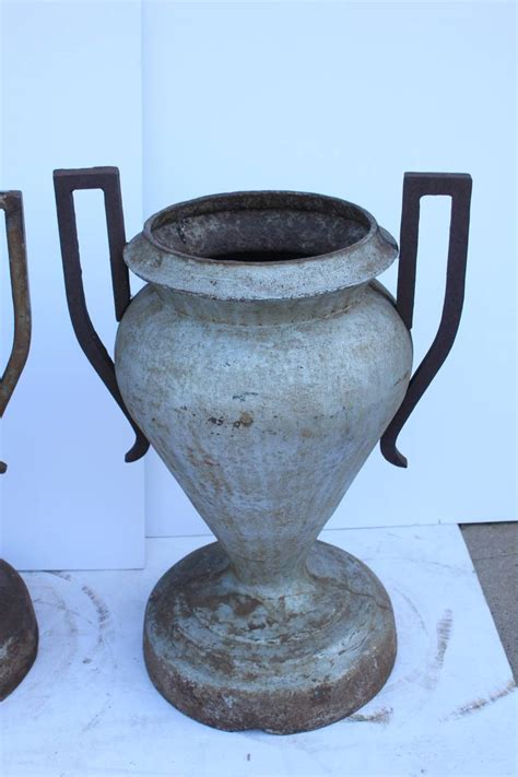 Antique Oversized Cast Iron Urn Planters At 1stdibs