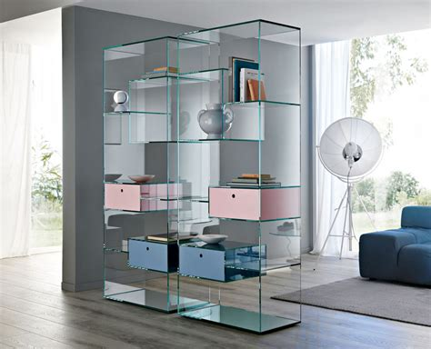 Glass Bookcase Shelves by Tonelli Liber Large Glass Bookcase Tonelli Design