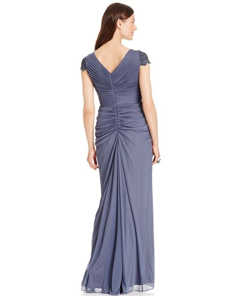 papell draped gown papell embellished sleeve draped gown in metallic