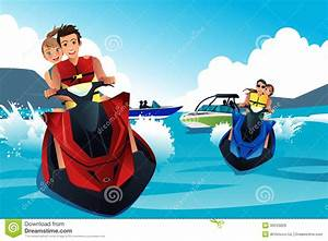 Young People Riding Jet Ski Stock Vector - Image: 39533828