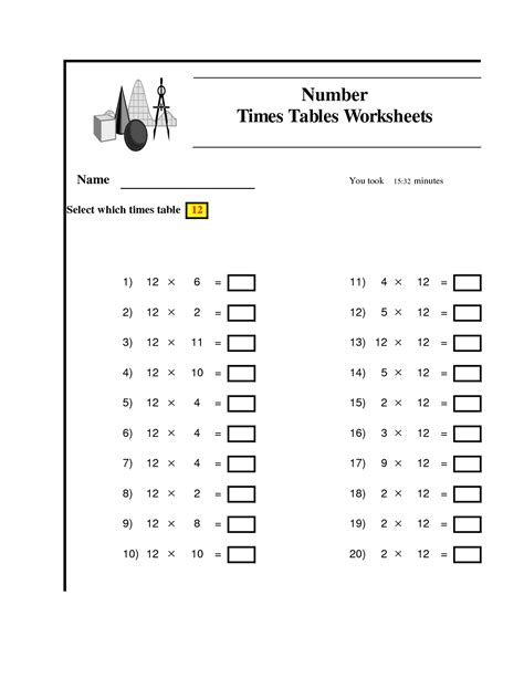 12 times tables worksheets activity shelter
