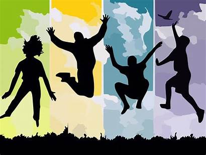 Freedom Jump Reach Silhouettes Young Vector Graphic