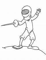 Coloring Fencing Fencer Template Classical sketch template