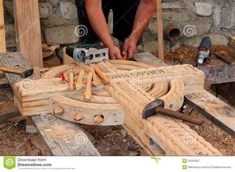 craftsman carving wood stock image image  hand board