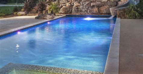 beautiful modern pool  led features spill