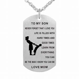 Mom To My Son Never Forget I Love You Dog Tag Necklace ...