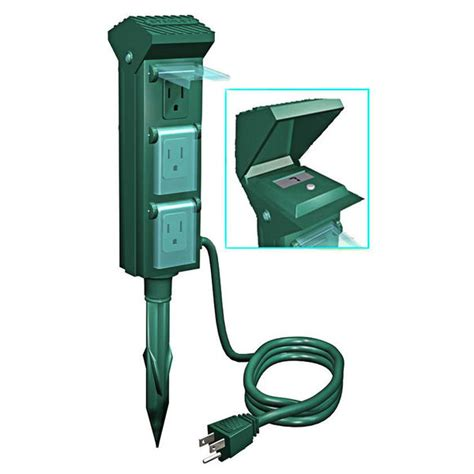 outdoor power outlet yard stake 6 grounded outlets