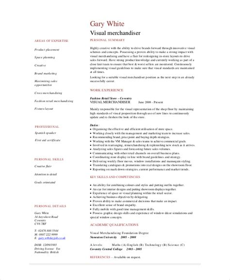resume resume exle for visual merchandiser resume for
