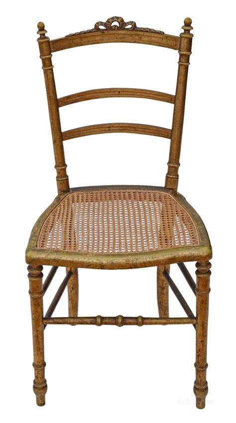 victorian gilt cane inlaid bedroom side hall chair