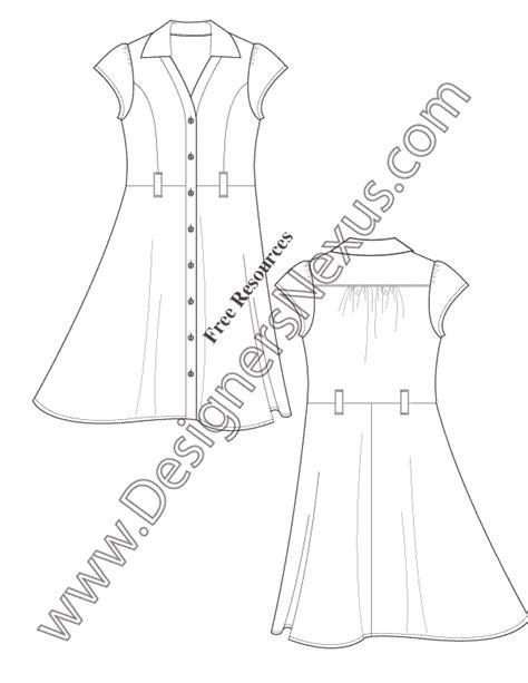 button front shirtdress illustrator flats fashion template