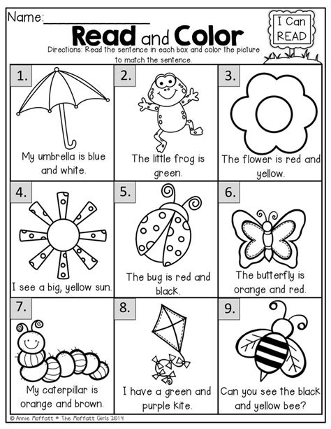read  color simple sentences  beginning readers