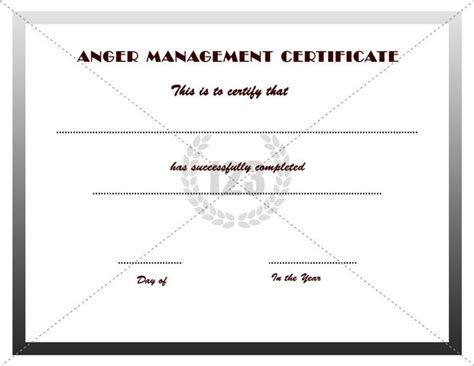 Anger Management Certificate Template by Anger Management Certificates