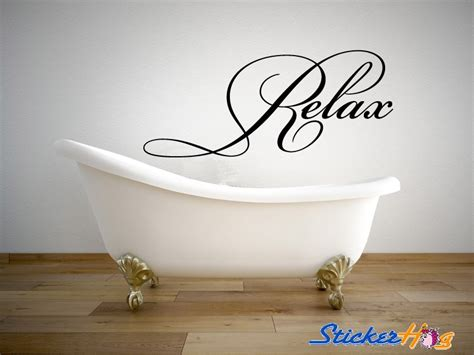 relax bathroom quote vinyl wall decal  graphics home decor